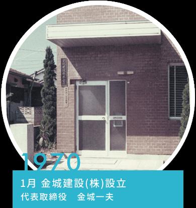 1970 1月 金城建設(株)設立 代表取締役 金城一夫